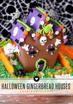 This is so fun, a haunted gingerbread house for Halloween!  Such a great project to do with the kids. Think of all the fun Halloween color possibilities!