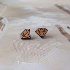 Wooden jewellery earrings diamond geometric stud by kookinuts. so freaking cute!
