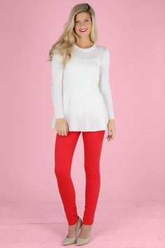Take your fall style out of the style book of Serena Van Der Woodsen in these bright woven stretch Gossip Girl Aurora Red Jeggings. Colored skinnies are in, and we love them paired with some of this season's cutest print tops. Play it casual-cool with a funky pair of sneakers, or dress it up with some platform heels. No matter what your look, these jeans will keep your style on-trend. Jeggings feature 5-pocket styling, zipper/button fly.  65% Cotton, 32% Polyester, 3% Spandex.  Machine wash…
