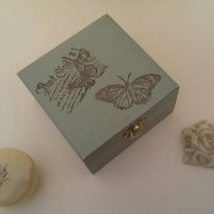 Wooden box, provencal style, handpainted.