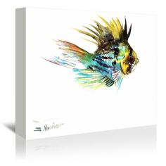 """East Urban Home Baloon Ram Fish by Suren Nersisyan Painting Print on Wrapped Canvas Size: 20"""" H x 24"""" W x 1.75"""" D"""