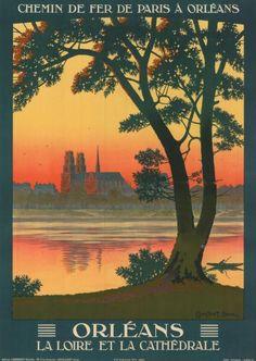 ORLEANS La Loire et la Cathédrale Chemin de fer de Paris à Orléans CONSTANT-DUVAL - 1925 Affiche roulée, quelques petttes tâches 75x105cm - Tessier & Sarrou et Associés - 10/10/2014