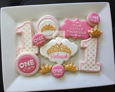 2 dozen Royal Princess cookies First Birthday by NatSweetsCookies