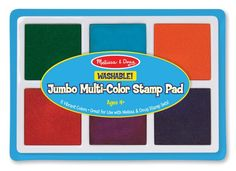 Jumbo Multi-Color Stamp Pad : Beyond red, blue and yellow, this stamp pad will add visual excitement to all your art projects. Add pleasure and creativity as you ink your bigger stamps in these generously sized squares of ink. Fuzzy Posters, Magnetic Drawing Board, Kids Stamps, Kids Labels, Vintage Halloween Decorations, Stamp Pad, Melissa & Doug, Toy Craft, Arts And Crafts Supplies