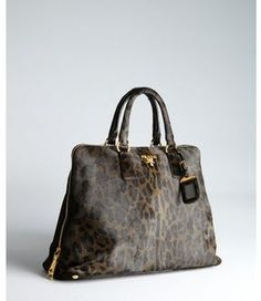 8aa975261475 SheFinds by POPSUGAR ShopStyle  Prada black leopard print calf hair zip  tote bag