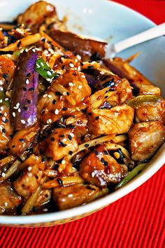 Stir Fry Recipes, Pork Recipes, Asian Recipes, Cooking Recipes, Ethnic Recipes, Asian Foods, Chinese Eggplant, Chinese Pork, Chinese Vegetables