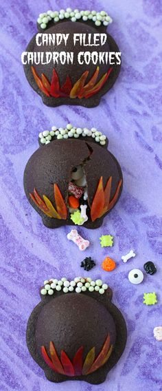 Conjure up some magical Halloween treats  this year by filling chocolate cauldron cookies with a bewitching potion of candy bones, eyeballs, skulls, and more. See the tutorial at HungryHappenings.com.