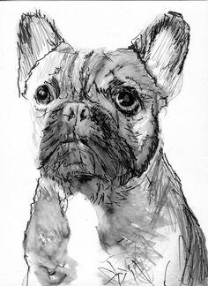 French Bulldog print Modern wall art Monochrome Black and White Print of Original Painting hand signed french bulldog gift… #dogs #art #etsy