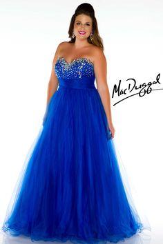 Royal Blue Strapless Plus Size Prom Dress | Mac Duggal 76424K