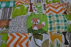 Fox applique for forest quilt or woodland quilt in orange tweed