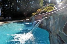 One of the gorgeous local pools we've worked on here in Northern California's Bay Area -- love the waterfall! Swimming Pool Repair, Swimming Pools, Aqua Pools, Northern California, Bay Area, Waterfall, Gallery, Outdoor Decor, Swiming Pool