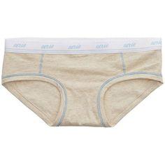 Aerie Logo Boybrief (4.00 CAD) ❤ liked on Polyvore featuring intimates, panties, cream, creamed panties, aerie panty, aerie panties and low rise panties