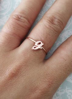 Personalised Rose Gold Initial Letter Ring - Rose Gold Bridesmaid gifts, rose gold letter jewelry, best friend sister girlfriend ring, www.colormemissy.com