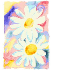 Daisies Watercolor - Flowers cross stitch pattern designed by Derek McCrea. Category: Arts.