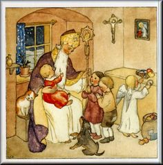 Ida Bohatta-Morpurgo (1900-1992) Christmas Paper Crafts, Vintage Christmas Cards, Vintage Cards, Christmas Themes, Christmas Kitten, Cosy Christmas, Father Christmas, St Nicholas Day, Advent