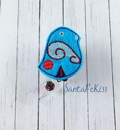 Blue Bird Felt Badge Holder with Retractable Badge by SantaFeKiss
