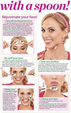 Spoon your face this summer with a Facial Massage to refresh and refine your skin Anti Wrinkle Cream: Must-Have Ingredients - AntiAging Skin Care Spa puffy under eyes with cold Massage Facial, Facial Yoga, Facial Muscles, Beauty Care, Beauty Skin, Beauty Hacks, Reduce Face Fat, Face Yoga Exercises, Natural Hair Mask