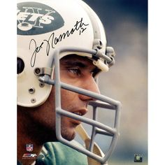 Joe Namath Signed Color closeup on helmet 16x20 Photo (in black) (Namath Holo Only)