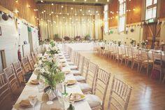 Hall Long Tables Festoon Lights Rustic Homely Fun & Creative Wedding http://www.onloveandphotography.com/