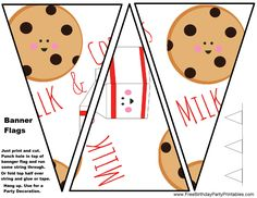 Free Printable Milk And Cookies Birthday Party Flag Bunting Banner by Free Birthday Party Printables.png (1319×1019)