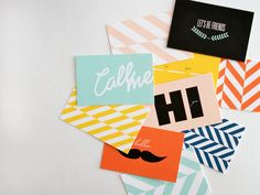 We really like these colourful and quirky business cards. #inspiration #design