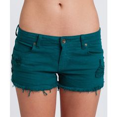 Billabong Women's Lite Hearted Side Tie Denim Shorts (12.810 CLP) ❤ liked on Polyvore featuring shorts, bottoms, billabong, distressed denim shorts, side tie shorts, ripped shorts and lace up denim shorts