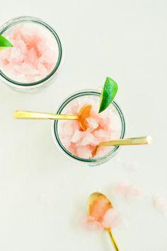 Homemade raspberry lemonade granita.