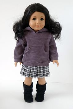 American Girl Doll Clothes -- Hooded 'Pullover', Skirt, and Jeans -- 3 Piece Outfit via ampmcreationstoo on Etsy