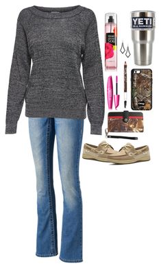 """How do I tell him I love him? Rtd"" by pistols-n-pearls ❤ liked on Polyvore featuring Victoria's Secret, Seven7 Jeans, JDY, Carhartt, COVERGIRL, Maybelline and Sperry"