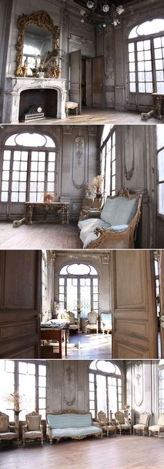 18th century patina and abandoned. {Interiors - This interior reflects the ornate decorations and structured lines of the fashion at the time.Even after hundreds of years it's still beautiful.}