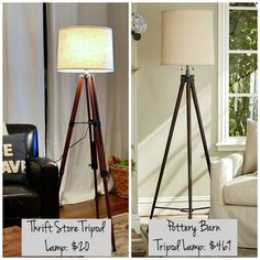 For only $20.00 make this DIY hack Tripod Lamp - Thrift Store upcycle heaven!
