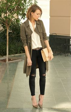 love the coat and the white blouse. Not crazy about the holes in the knees.