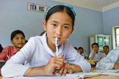 Vietnam. Deforestation. Girl in school classroom