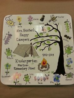 Roll out butcher paper on picnic table and create a camping scene with fingerprints from all the kids Class Art Projects, Auction Projects, Classroom Projects, School Projects, Projects For Kids, Crafts For Kids, Auction Ideas, Art Auction, School Ideas