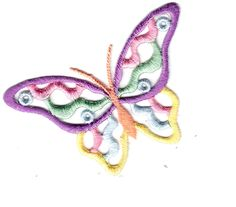 BUTTERFLY-Open, Pastel Colors (Large)- Iron On Embroidered Applique/Butterflies #ABC #OpenButterfly