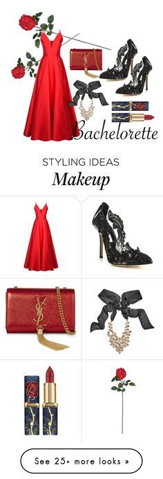"""Rose"" by afton-paige on Polyvore featuring Nearly Natural, La Mania, Oscar de la Renta, GUESS by Marciano and Yves Saint Laurent"