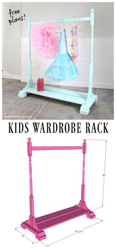 Woodworking Projects For Kids diy kids wardrobe rack free plans - A DIY tutorial to build a kids wardrobe rack with free plans. A beautiful storage place for both dress up and every day kids clothes. Kids Woodworking Projects, Diy Wood Projects, Diy Woodworking, Woodworking Workshop, Woodworking Furniture, Kids Clothes Storage, Diy Clothes Rack, Kids Clothing Rack, Do It Yourself Furniture