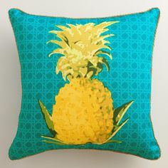 Featuring our exclusive tropical design, our yellow pineapple on blue throw pillow is made of high-performance fabric with natural braided jute detailing. Mix and match pillows and cushions in fun patterns and fashionable colors to refresh your outdoor space instantly. www.worldmarket.com #WorldMarket Outdoor Entertaining #CelebrateOutdoors