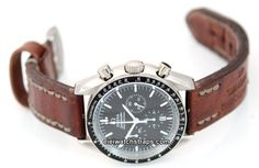 Brooklands Handmade Vintage style Ammo leather watchstrap For Omega Speedmaster Moonwatch