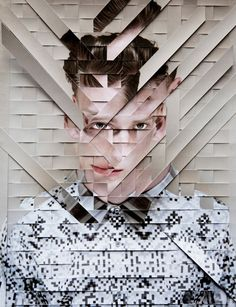 The broken up pieces of the portrait still create a visible person as the misplacement of the stripes is shiftable in perception.