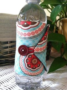 Bottle/Can Cozy Water/Soda/Beer   Red Brown & Aqua (Moda BLISS) by CameoCreationsEtc, $6.95