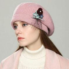 Fashion knit beret hat for women with flower winter hats
