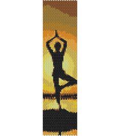 Yoga con tramonto sul mare, zen, meditazione ( 2 PDF, schema PEYOTE + schema per telaio/LOOM per realizzare bracciali o segnalibro) di AntosCreations su Etsy