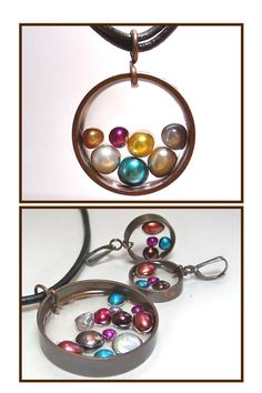 Bliss Designs up cycled copper pipe jewelry with freshwater pearls and resin. Recycled jewelry