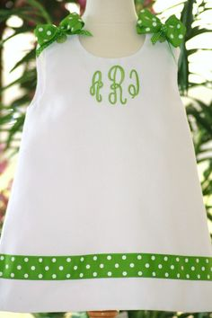A line shift dress jumper Monogram baby embroidery baby. $44.50, via Etsy.