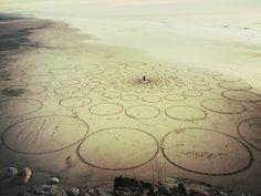 crop circles at ocean beach