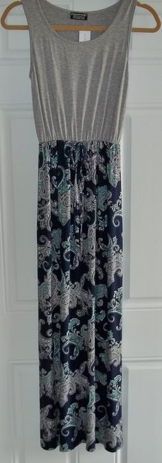 Papermoon Briar Printed Maxi Dress. Crazy soft material and beautiful Navy, light grey, and Teal. Would look great with a denim jacket! Use my referral code to get your own stitch fix! https://www.stitchfix.com/referral/3458095