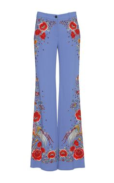 Floral Stretch Cady Trousers by ROBERTO CAVALLI for Preorder on Moda Operandi