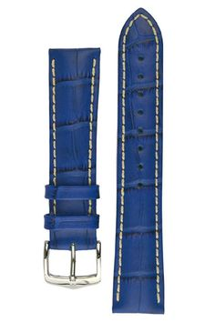 Hirsch MODENA Alligator Embossed Leather Watch Strap in ROYAL BLUE – WatchObsession