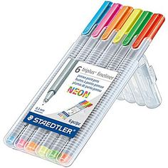 Staedtler Triplus Fineliner Pens, .03mm Point, Assorted Colors, 6/pk (SB6NA6)